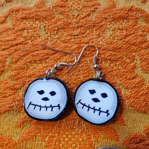 Skull pair of Earrings Handmade Polymer Clay Jack